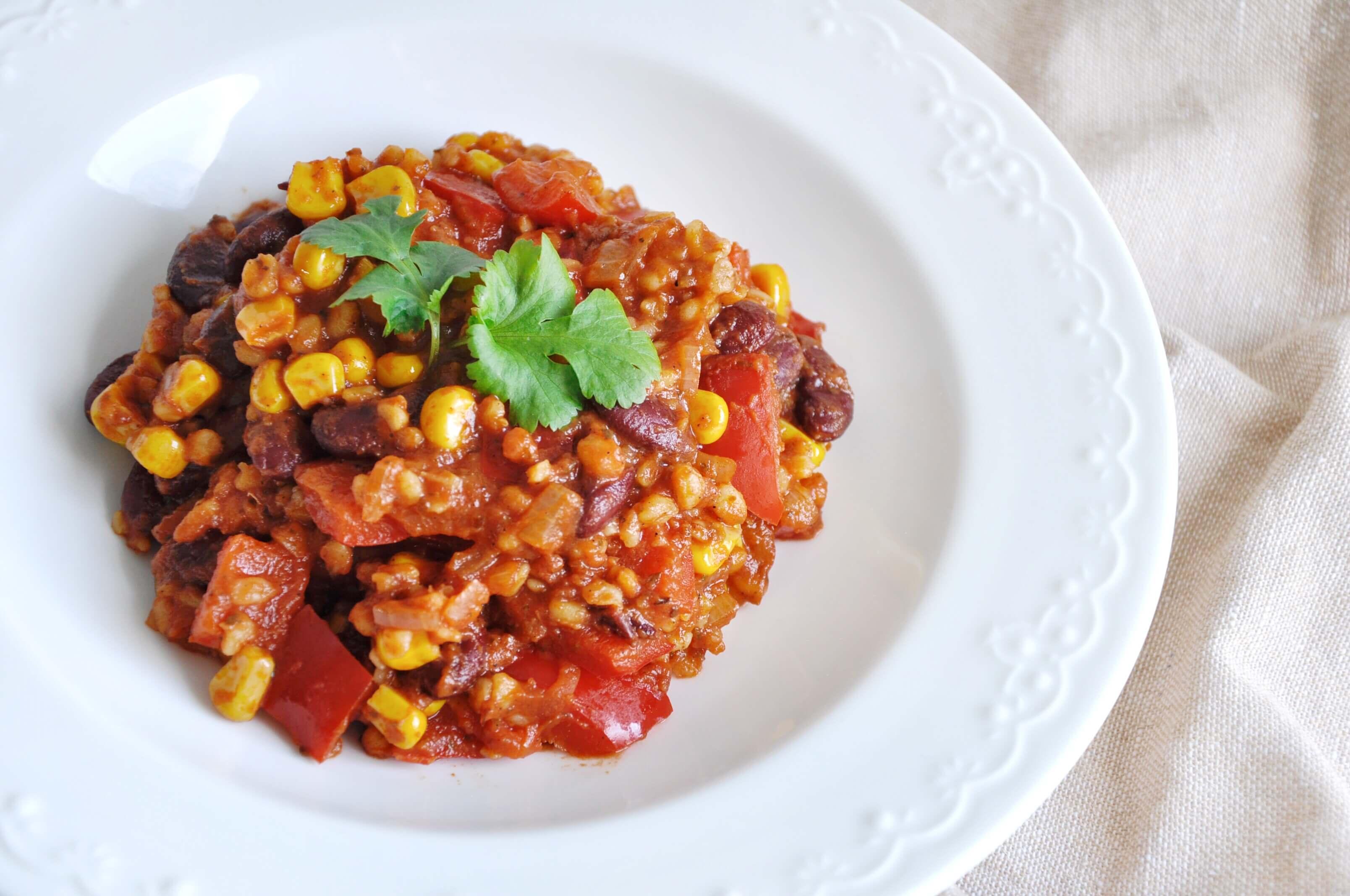 Pomysł na szybki fit obiad - wegetariańskie kaszotto po meksykańsku